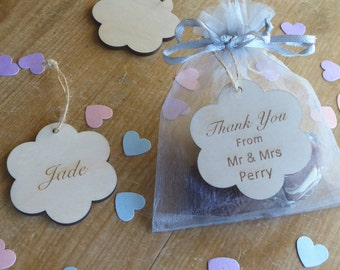 Thank You Wooden Flower Wedding Favour Tag