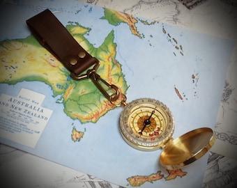 Steampunk / Dieselpunk Brass Compass on belt clip. Adventurer, Time Traveller, Explorer, Airship, Kraken, Burning Man, Gadget, Accessory