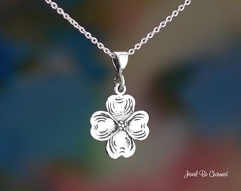 "Sterling Silver Dogwood Necklace with 16-24"" Chain or Pendant Only 925"