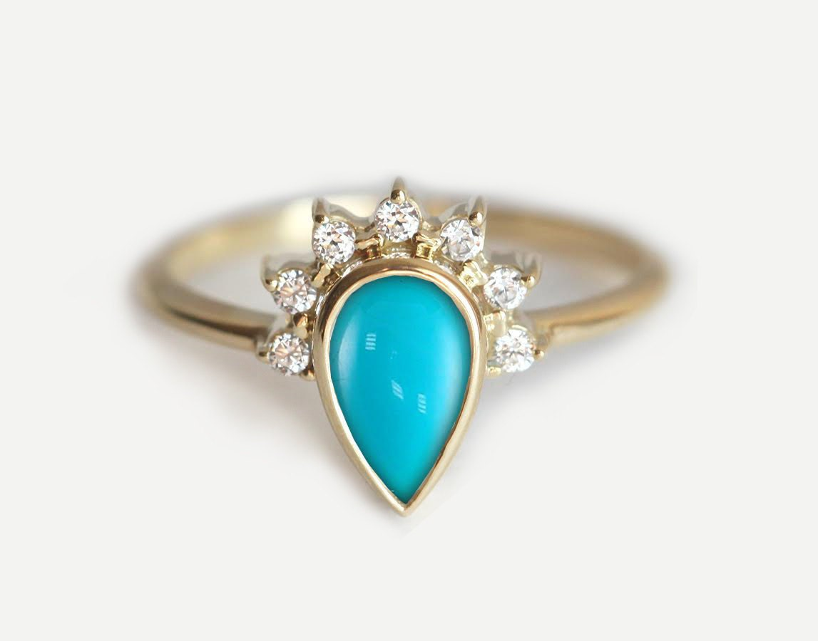 Favorite Turquoise Engagement Ring Engagement Turquoise Ring Pear UM15