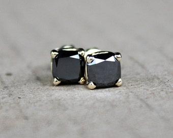 2CTW black diamonds stud earrings, gold studs, diamond earrings