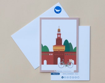 Milan Icons Greeting Cards-Castello Sforzesco-Milan