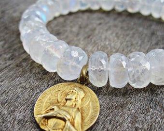 Saint Agnes, Stretch Bracelet, Antique Catholic Louis Tricard Medal, Brilliant White Rainbow Moonstone with Blue Flash, Gold Medal
