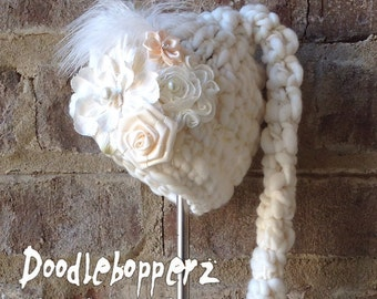 Newborn Elf Hat, Girl, Cream, Unique, Merino Wool, Shabby Chic, Feather, Satin, Rhinestone, Pearl, Cute Photo Prop, Newborn, Ready to Ship