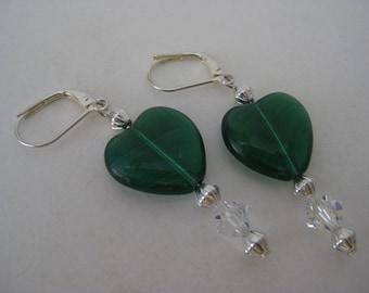 Heart Green Earrings Silver Pierced Wire Dangle Vintage