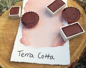Terra Cotta. Half pan, full pan or bottle cap of handmade watercolor paint