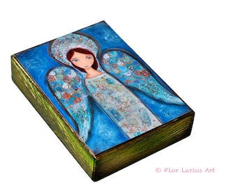 Angel Azul  - ACEO Giclee print mounted on Wood (2.5 x 3.5 inches) Folk Art  by FLOR LARIOS