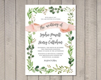 Rustic Leaves Wedding Invitation (Printable) DIY by Vintage Sweet