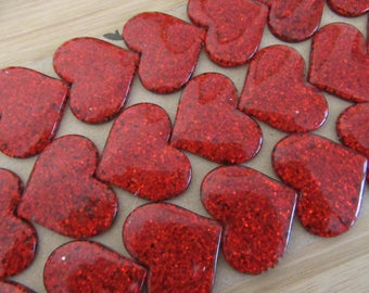 Red Hearts, Red Glitter Hearts, Red Resin Hearts, Red Heart Cabochons, Scrapbooking Hearts, Heart Flatbacks, Heart Decorations  - 20 pcs