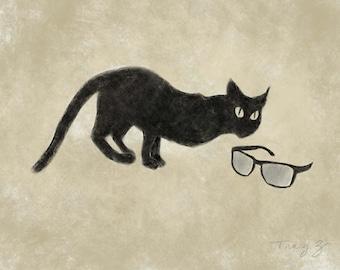 Large, giclee, print, 11x14, cat, black cat, I got this
