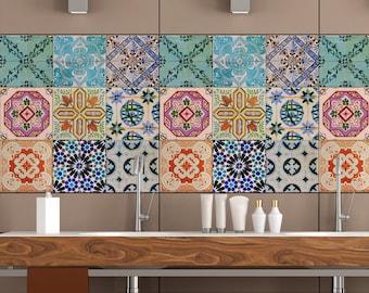 Portuguese Tiles Stickers Maceira - Pack of 16 tiles - Tile Decals Art for Walls Kitchen backsplash Bathroom