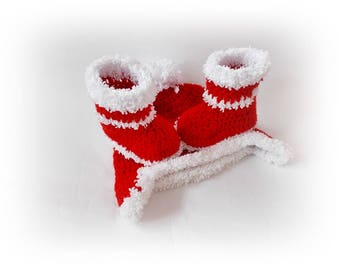 Christmas shoes hat Santa Baby hat booties Christmas baby set Baby boots Red Booties Baby hat Christmas Newborn boots Christmas Baby Boots