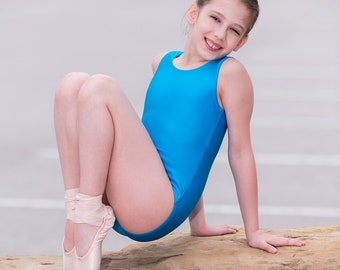 Shimmer Medium Blue / Girls leotard / Ready to ship
