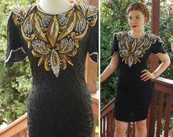 SILVER & Gold 1980's Vintage Black Silk Mini Dress w/ Sequins and Beading // by Denise ELLE // size Small