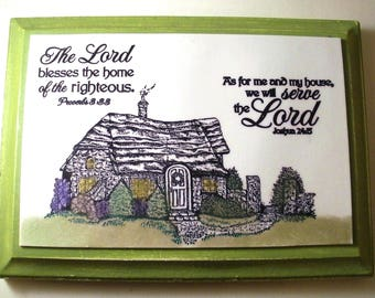 Home Verse Plaque.  As for me and my house, we will serve the Lord. Joshua 24:15. Proverbs 3.33. Bible Christian Scripture Wall Art Homemade