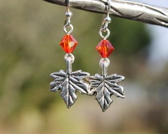 Maple leaf and crystal earrings