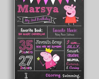 Peppa Pig Birthday Chalkboard,1st birthday chalkboard,2nd birthday chalkboard,Peppa Pig Birthday