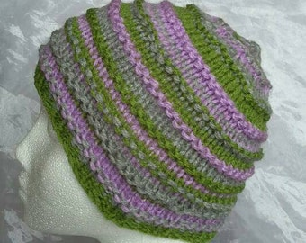 Lilac, Green and Grey Striped Kid's Hat - Ages 3+
