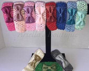 Sequin bow on crochet headbands