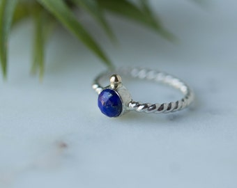 Sterling Silver ring / Recycled gold / Lapis Ring / Blue ring / Silver and gold ring / women ring/ Lapis Lazuli jewelry / gift for her