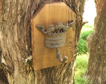 Rustic crown coat rack  -- lodge cabin decor -- rich patina on cast iron hook and western cedar