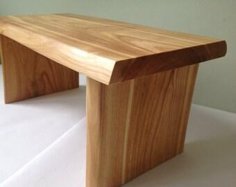 Waney edge meditation stool handmade from cherry, yoga stool, zen practice meditation bench.