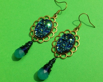 Glittery Peacock Feather Coloured Earrings - with wire wrapped drops, iridescent blue, purple & green, fauz druzy crystal, petrol gasoline