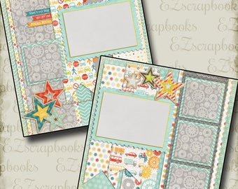 ZOOM ZOOM - 2 Premade Scrapbook Pages - EZ Layout 322