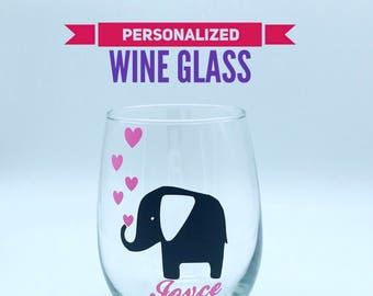 Elephant wine glass elephant with hearts stemless wine glass gifts customized wine glasses personalized gifts for her Valentine's Day gifts