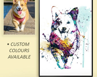 Pet portraits, Custom Pet Portrait, Water-colour Custom Pet Portrait, Custom dog Art, pet lover gifts, pet gifts, Pet Memorial WT16