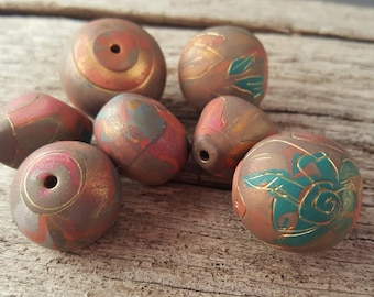 Gold Thread Asian Teal Polymer Clay Beads
