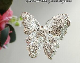 Butterfly Rhinestone Brooch pin Embellishment Crystal Clear Wedding Brooch Bouquet Invitation Bridal Hair Comb Clip DIY Supplies