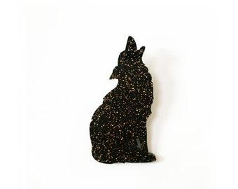 Black Wolf laser cut brooch
