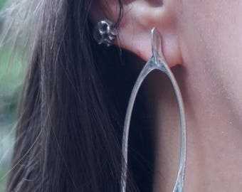 Rabbit wishbone ear studs in sterling silver