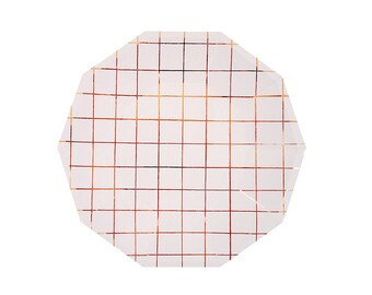 Rose Gold Grid Paper Plates, Large, Tableware, Party Supplies, Meri Meri