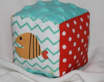 Small Something's Fishy Boutique Block Rattle Toy