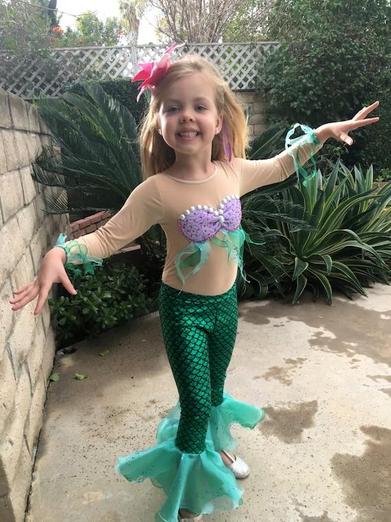 sc 1 st  Etsy & Ariel Costume Long Sleeves Ariel Leggings for Girls Size