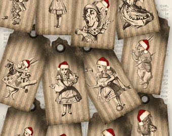 Christmas Alice in Wonderland Tags Labels printable craft art hobby crafting scrapbooking instant download digital collage sheet - VD0277