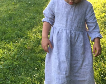 Toddler linen dress, girls dresses, girls summer dress, girls occasion dress, baby easter outfit, girls easter dress, linen dress