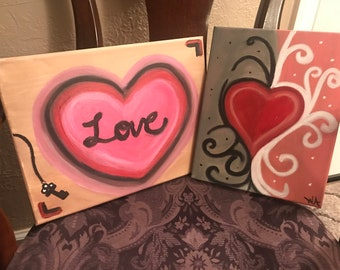 Love & Heart canvas painting