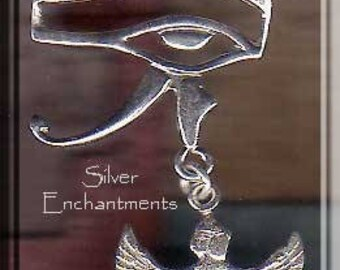 Sterling Silver Eye of Horus Pendant with Dangling Isis, Eye of Horus and Isis Necklace, Egyptian Jewelry - SE-0420