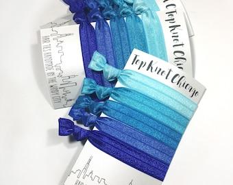 Blue Ombre Hair Elastics - Blue Hair Ties - Hair Bands - Womens Hair Accessories - Yoga Hair Ties - Elastic Hair Ties - Elastic Hair Bands