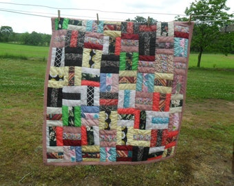 "Hand Quilted Multi-colored patchwork Lap Quilt, Baby Play Mat, Wheelchair Quilt 40"" x41"""
