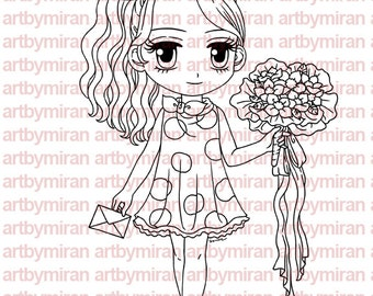Digital Stamp - Stephanie Brings Surprises, Digi Stamp, Coloring page, Printable Line art for Card and Craft Supply