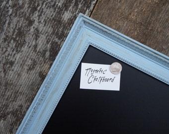 Made to Order: Medium Magnetic Chalkboard Distressed Blue Grey Vintage Style Frame Magnetic Board - Magnet Board - Vintage Chalkboard