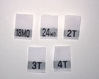 Mixed Toddler Woven Clothing Size Tags Labels 18mo-24mo-2T-3T-4T Qty 50
