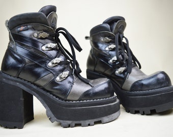 90s Grunge Goth Black Grey Gunmetal Chunky Lace Up Double Stacked Platform Industrial Ankle Boots UK 6 / US 8.5 / EU 39
