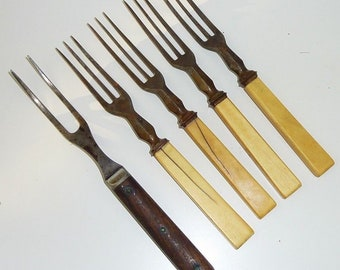 Antique Civil War Era Wood and Bone Handle Forks with Two and Three Tines