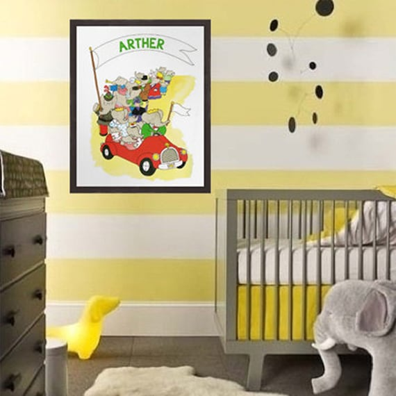 Personalized Nursery Print BABAR The Elephant Art Print Kids