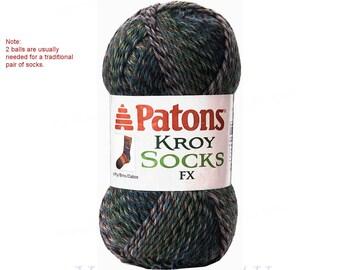 CADET COLORS Patons Kroy Socks FX, super fine sock yarn, washable wool blend, blue sock yarn. Makes subtle Shades. Buy 2 to make a pair. <